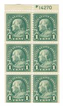 1923 Benjamin Franklin Booklet Pane of 6 US Stamps Catalog Number 552a MNH