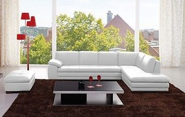 J&M 625 White Full Top Grain Leather Italian Sectional Sofa Modern Right