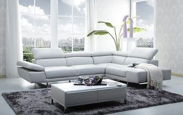 J&M 1717 White Full Top Grain Leather Italian Sectional Sofa Modern Right