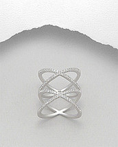 Geometric Double X Design CZ Sterling Silver Ring 925 - $37.80