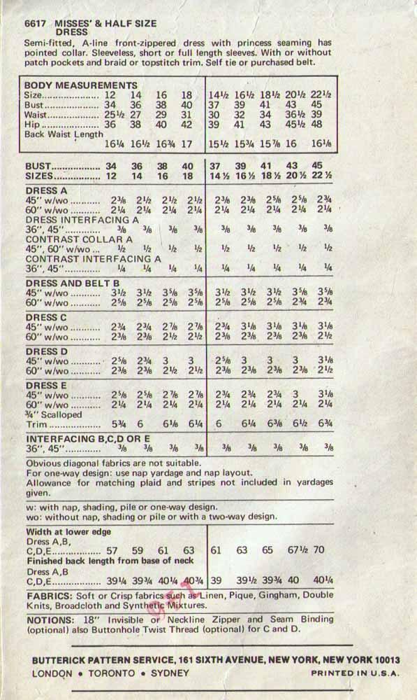 1970's A-LINE DRESS Pattern 6617-b Size 14  - UNCUT