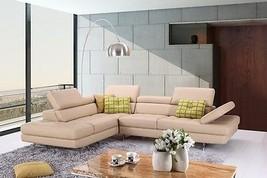 J&M A761 Peanut Full Top Grain Leather Italian Sectional Sofa Modern Left