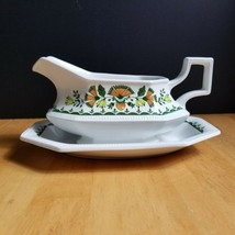 Johnson Brothers Greenfield Gravy Boat with Under-plate White Green Mosaic - $24.70