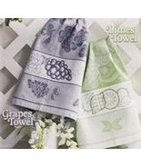 Blue Grey Bon Appetit Grapes 14ct Kitchen Towel 18x27 cotton STS Crafts - $7.38
