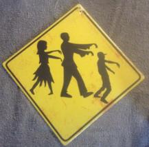 Caution Zombies Ahead Cardboard Warning Yellow Halloween Undead Sign - $3.99