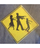 Caution Zombies Ahead Cardboard Warning Yellow Halloween Undead Sign - $3.99