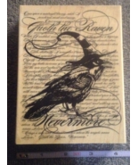 Wood-mounted Nevermore Raven Craft Stamp Halloween Rubber Stamp Scrap-bo... - $12.99