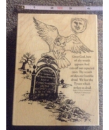 Wood-mounted Grave Owl Cemetary Craft Stamp Halloween Rubber Stamp Scrap... - $12.99