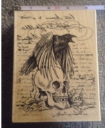 Wood-mounted Raven Skull Words Craft Stamp Halloween Rubber Stamp Scrap-... - $12.99