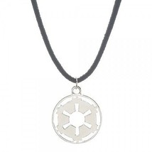 Official Star Wars Galactic Empire Silver Charm Necklace Suede Cord Free... - $13.74