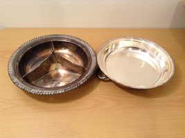 Vintage Silver Plate 3 Section Serving Dish Plate Tray with Cover