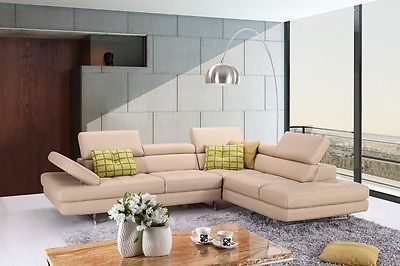 J&M A761 Peanut Full Top Grain Leather Italian Sectional Sofa Modern Right
