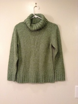 New York & Company Soft Green Knitted Sweater Slouch Neck, size XS, 100% Acrylic
