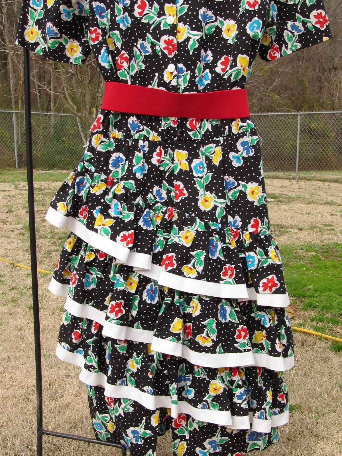 Vintage Straight Black Dress with 3 Cha Cha Layers 1980s Floral Design Size 11-1 image 5