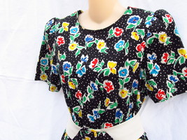 Vintage Straight Black Dress with 3 Cha Cha Layers 1980s Floral Design Size 11-1 image 6