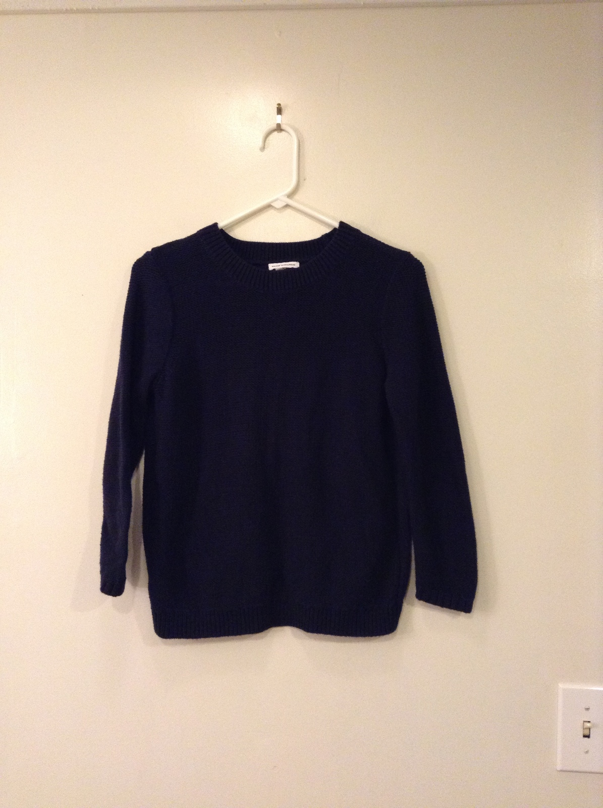 Club Monaco Navy Blue Open Swing Back Cotton 3/4 sleeve Sweater, size S