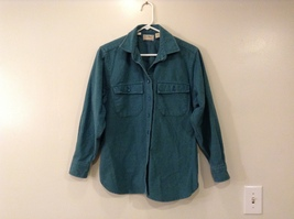 L.L.Bean Womens 100% Cotton Thick Flannel Turquoise Front Buttons Shirt, size 12