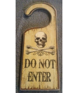 Halloween Wood Skull and Crossbones Do Not Enter Door Knob Hanger  - $3.99