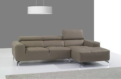 J&M A978b Full Top Grain Leather Italian Sectional Sofa Modern Right