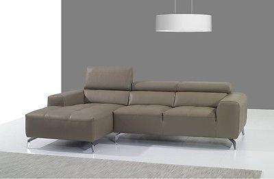 J&M A978b Full Top Grain Leather Italian Sectional Sofa Modern Left