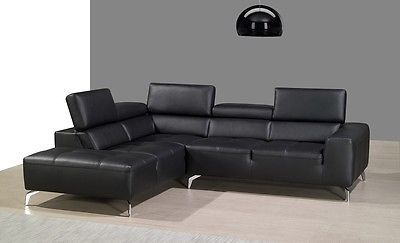 J&M A978b Black Full Top Grain Leather Italian Sectional Sofa Modern Left