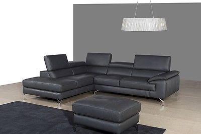 J&M A973 Grey Full Top Grain Italian Leather Sectional Sofa Left-Hand Facing