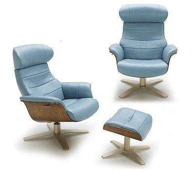 J&M Karma Blue Modern Leather Lounge Chair Contemporary Design