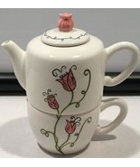 2006 Starbucks 18 oz Coffee Teapot and Cup Pink Flower Tulip Lid   - $29.65