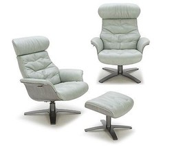 J&M Karma Mint Green Modern Leather Lounge Chair Contemporary Design