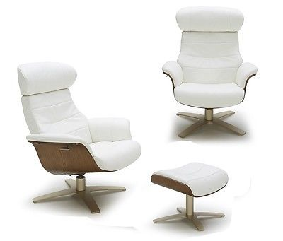 J&M Karma White Modern Leather Lounge Chair Contemporary Design