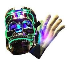 New Halloween Light up Skeleton Chrome Mask & Glove Costume Bundle, #Spooky - $33.65
