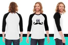 mustache with eyes American Apparel Unisex 3/4 Sleeve T-Shirt - $29.99+