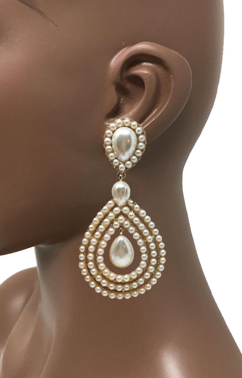 9.5cm Long Pince Soirée Boucles D'Oreilles Blanc Perle Synthétique Ton Doré