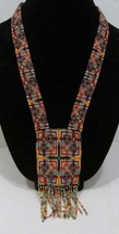 handmade beaded multi- color cross design pendant necklace  - $25.00