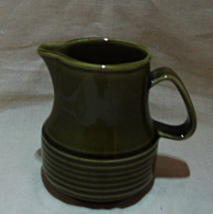 Vintage Green Stoneware Pottery Creamer Pitcher // Syrup Pitcher // Smal... - $10.00