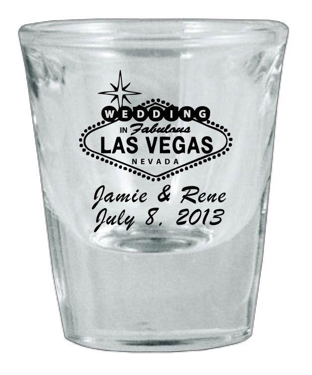 48 CUSTOM Las Vegas Wedding FAVOR Shot Glasses NEW