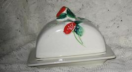 Covered Butter Dish -Strawberries-Hand Painted-Japan - $8.00