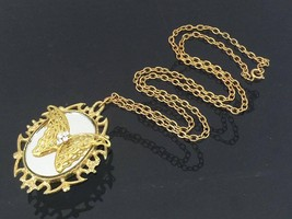 Vintage Jewelry Rhinestone Chain Necklace & Butterfly Glass Pendant 25'' Length - $15.00