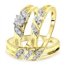 1/4 Carat Round Sim.Diamond 14K Yellow Gold Gp.925 Silver Trio Wedding Ring Set - $133.29