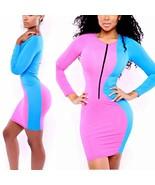 Women Sexy Bodycon Bandage Zipper Long Sleeve Short Fit Light Material D... - $12.60