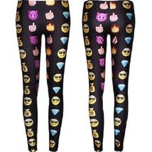 Womens Hot Emoji  Casual Funny Sport Black Legg... - $14.73