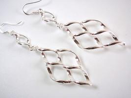 Wave Patterned Dangle Earrings 925 Sterling Silver Corona Sun Jewelry Ne... - $14.72