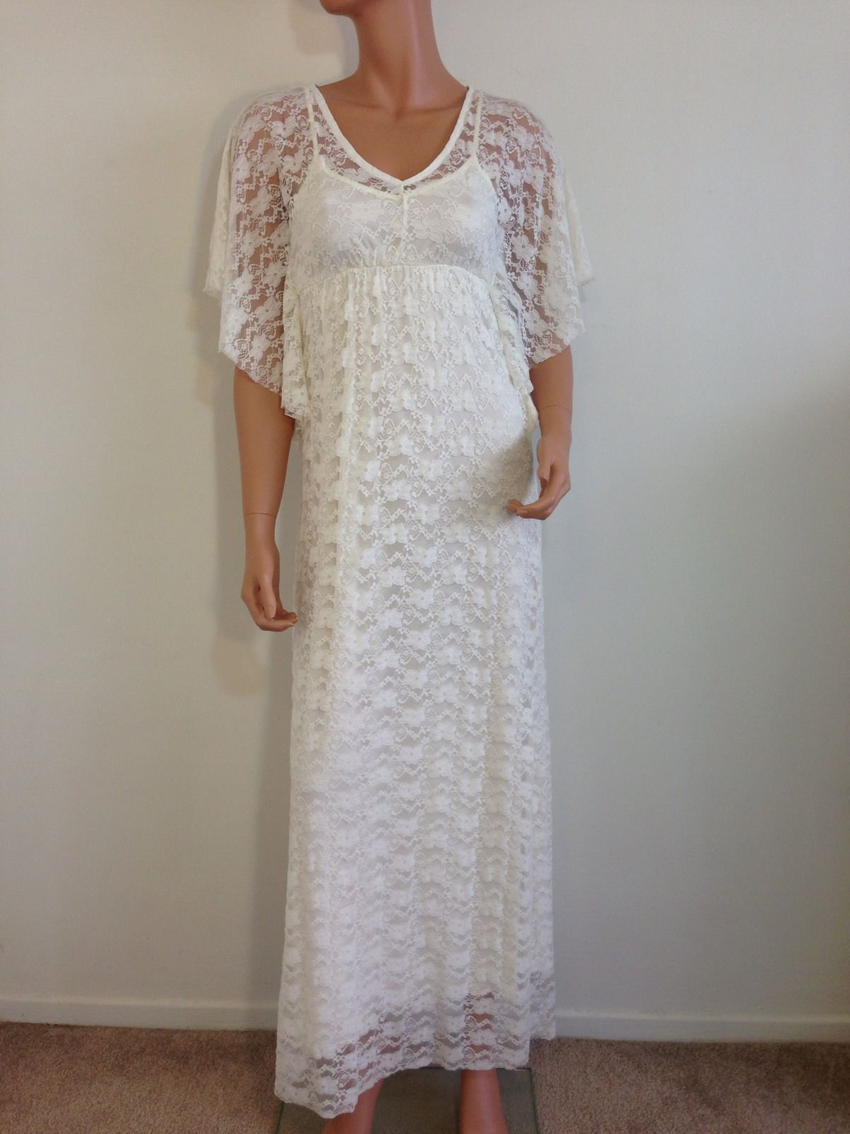 White lace maxi dress wedding 1920s gatsby inspired bridal for Lace maxi wedding dress