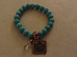 Bella Ryann Crown Jewels Turquoise Bracelet Gold Crown Charm and Crystal