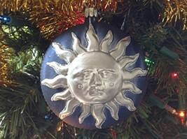 Blue and Silver Sun Face Blown Glass Ornament [Kitchen] - $39.99