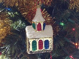 Gold Shiny Church with Steeple and Snow Hand Painted Glass Ornament [Kitchen]