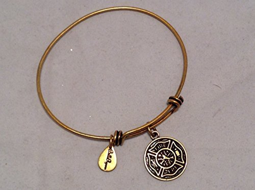 Bella Ryann Gold Fire Department Charm Bangle Bracelet [Jewelry]