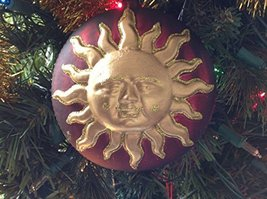 Red and Gold Sun Face Blown Glass Ornament [Kitchen]