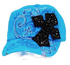 Womens Inspirational Cross Rhinestone Crystal Cap Hat Stud Decorative Co... - $23.81 CAD