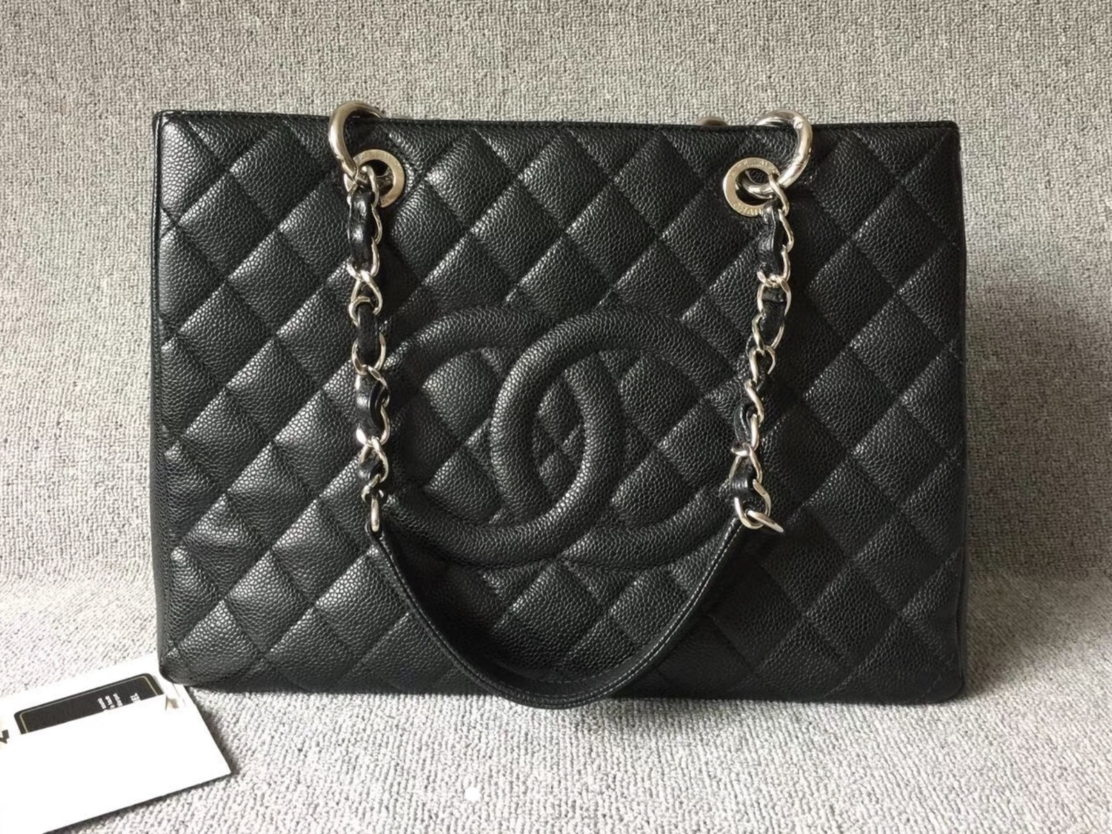 50a50416f83c AUTH CHANEL QUILTED CAVIAR GST WITH RECEIPT GRAND SHOPPING TOTE BAG ...
